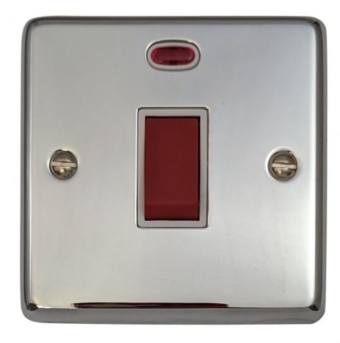 G&H CC46W Standard Plate Polished Chrome 45 Amp DP Cooker Switch & Neon Single Plate